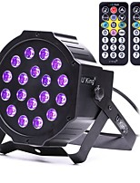 U'King ZQ-B194B-YK2 18*1W LEDs Purple Color Auto DMX Sound Activated Par Stage Lighting with 2 Remote Control for Disco Party Club KTV Wedding
