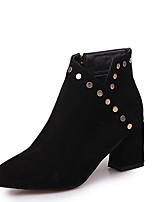 Women's Shoes Leatherette Fall Winter Comfort Bootie Boots Chunky Heel Pointed Toe Booties/Ankle Boots Beading Studded Zipper For Casual