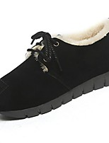 Women's Shoes PU Winter Comfort Flats Flat Heel Round Toe Lace-up For Casual Yellow Gray Black
