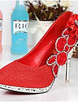 Damen Schuhe Nappaleder PU Frühling Herbst Pumps High Heels Stöckelabsatz Für Normal Gold Silber Rot