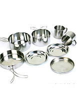 Outdoor stainless steel 8 - piece pan - climbing camping portable set of a bowl barbecue cooker