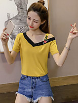 Women's Going out Cute Casual T-shirt,Solid V Neck Short Sleeves Cotton