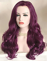 Uniwigs Women Synthetic Wig Lace Front Long Wavy Bright Purple Natural Wigs Costume Wig