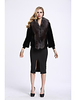 Women's Daily Sophisticated Winter Fur Coat,Color Block V Neck Regular Fox Fur