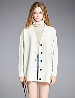 8CFAMILY Women's Going out Casual/Daily Simple Regular Cardigan,Solid Boat Neck Long Sleeves Acrylic Winter Thick Stretchy
