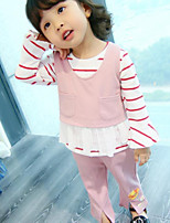 Girls' Solid Print Sets,Cotton Fall Winter Long Sleeve Clothing Set