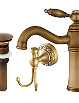 Centerset Widespread Ceramic Valve Single Handle One Hole Antique Copper , Bathroom Sink Faucet