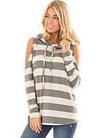 Women's Holiday Going out Spring Fall T-shirt,Houndstooth Hooded Long Sleeves Cotton Polyester Medium