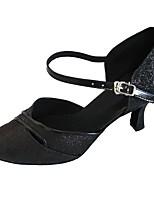Women's Modern Sparkling Glitter Sandal Indoor Customized Heel Black