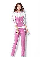 Women's Daily Casual Spring Fall Hoodie Pant Suits,Color Block Hooded Long Sleeve Stretch Yarn