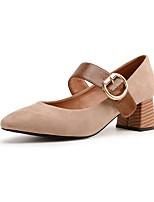 Femme Chaussures PU de microfibre synthétique Automne Escarpin Basique Chaussures à Talons Gros Talon Bout carré La boucle du crochet Pour