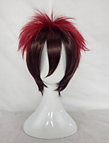 Men Synthetic Wig Capless Short Straight Black/Red Ombre Hair Layered Haircut Party Wig Halloween Wig Cosplay Wig Costume Wig