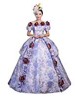 Victorien Rococo Féminin Adulte Costume de Soirée Bal Masqué Bleu Cosplay Manches Courtes Longueur Sol