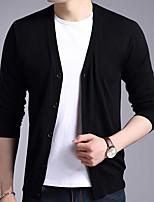 Men's Casual/Daily Simple Regular Cardigan,Solid V Neck Long Sleeves Polyester Fall Winter Medium Micro-elastic