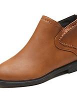 Feminino Sapatos Couro Ecológico Primavera Outono Conforto Botas da Moda Botas Salto Grosso Ponta Redonda Botas Cano Médio Para Casual