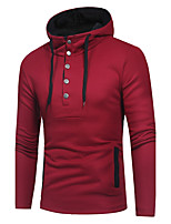 Men's Going out Daily Casual Active Street chic Hoodie Solid Color Block Patchwork Hooded Micro-elastic Acrylic Polyester Long