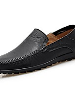 Men's Shoes PU Nappa Leather Spring Fall Comfort Loafers & Slip-Ons For Casual Dark Brown Brown Black