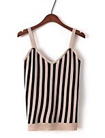 Women's Going out Casual/Daily Sexy Simple Street chic Summer Fall Tank Top,Striped Color Block Strap Sleeveless Cotton Polyester Thin