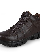 Men's Shoes Cowhide Leatherette Fall Winter Comfort Combat Boots Sneakers Split Joint For Casual Brown Black