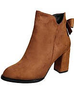 Women's Shoes PU Fall Fashion Boots Boots Chunky Heel Round Toe Bowknot For Casual Brown Black