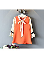 cheap -Girl's Solid Patchwork Dress