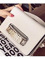 Women Bags All Seasons PU Shoulder Bag Zipper for Casual Black White