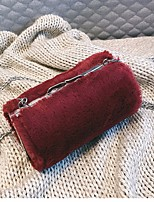 Women Bags Fur Shoulder Bag Buttons for Winter White Black Fuchsia