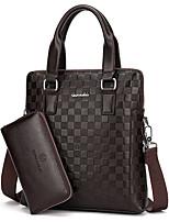 Men Bags All Seasons PU Bag Set 2 Pieces Purse Set Zipper for Casual Office & Career Black Brown