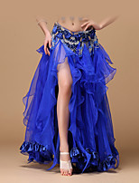 Belly Dance Bottoms Women's Performance Polyester Satin Pleated Dropped Skirts