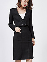 Women's Going out Casual/Daily Street chic Spring Shirt Skirt Suits,Solid Deep V Long Sleeve Micro-elastic
