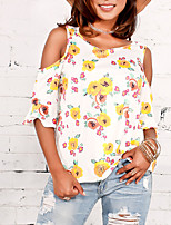 Women's Holiday Going out Vintage Cute Sexy Spring Fall T-shirt,Floral Round Neck Half Sleeves Polyester Medium