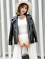 Women's Going out Casual/Daily Street chic Chinoiserie Fall Winter Leather Jacket,Solid V Neck Long Sleeve Regular PU Cotton