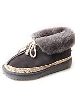 Femme Chaussures Polyuréthane Hiver Bottes de neige Bottes Talon Plat Bout rond Lacet Pour Décontracté Soirée & Evénement Noir Gris