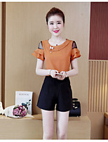 Women's Daily Casual Summer Blouse Pant Suits,Solid Round Neck Short Sleeve Spandex Micro-elastic