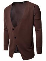 Standard Cardigan Da uomo-Per uscire Casual Vintage Tinta unita A V Manica lunga Cotone Rayon Medio spessore Media elasticità