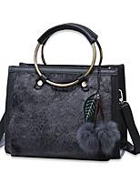 Donna Sacchetti Per tutte le stagioni PU (Poliuretano) Tote Con Piume / in pelliccia Cerniera per Shopping Casual Nero Grigio