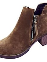 Mujer Zapatos PU Otoño Confort Botas de Moda Botas Tacón Robusto Dedo redondo Botines/Hasta el Tobillo Para Casual Negro Marrón Verde