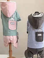Dog Coat Hoodie Clothes/Jumpsuit Dog Clothes Casual/Daily Stripe Gray Green Blue