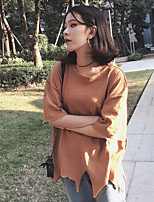 Women's Daily Vintage T-shirt,Solid Round Neck Half Sleeves Cotton