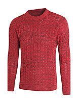Men's Casual/Daily Regular Pullover,Solid Round Neck Long Sleeves Polyester Winter Medium Micro-elastic