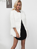 Women's Going out Casual/Daily Work Simple Vintage Active Fall Winter Fur Coat,Solid Round Neck Long Sleeve Regular Faux Fur Polyester