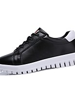 Women's Shoes Cowhide Spring Fall Comfort Sneakers Round Toe Lace-up For Casual Black White
