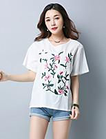 Feminino Camiseta Casual Temática Asiática Verão,Bordado Algodão Decote Redondo Manga Curta Média