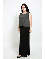 Cute Ann Women's Party Plus Size Vintage Simple Street chic Shift T Shirt Two Piece Dress,Color Block Patchwork Round Neck Maxi Sleeveless Cotton