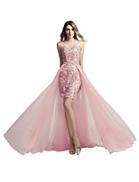 A-Line Two Piece Jewel Neck Asymmetrical Tulle Prom Formal Evening Dress with Beading Sequins by Sarahbridal