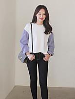 Tee-shirt Femme,Couleur Pleine Sortie simple Manches Longues Col Arrondi Coton