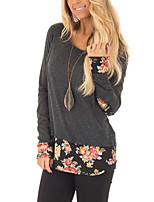 Women's Holiday Going out Vintage Boho Spring Fall T-shirt,Floral Round Neck Long Sleeves Polyester Medium