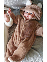 Baby Solid Color One-Pieces,Wool Flannel Fall Winter Long Sleeve