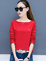 Women's Daily Plus Size Casual Spring Fall T-shirt,Solid Round Neck Long Sleeves Cotton Polyester Thin