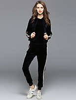 EWUS Women's Running Casual/Daily Street chic Fall Hoodie Pant SuitsSolid Striped Hooded Long Sleeve Micro-elastic